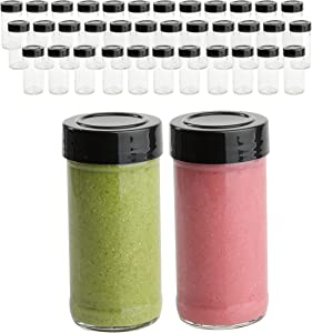 4 Oz Glass Juice Bottles With Caps, 35 Mini Shot Smoothie Small Glass Bottles Containers With Black Plastic Lids For Juicing