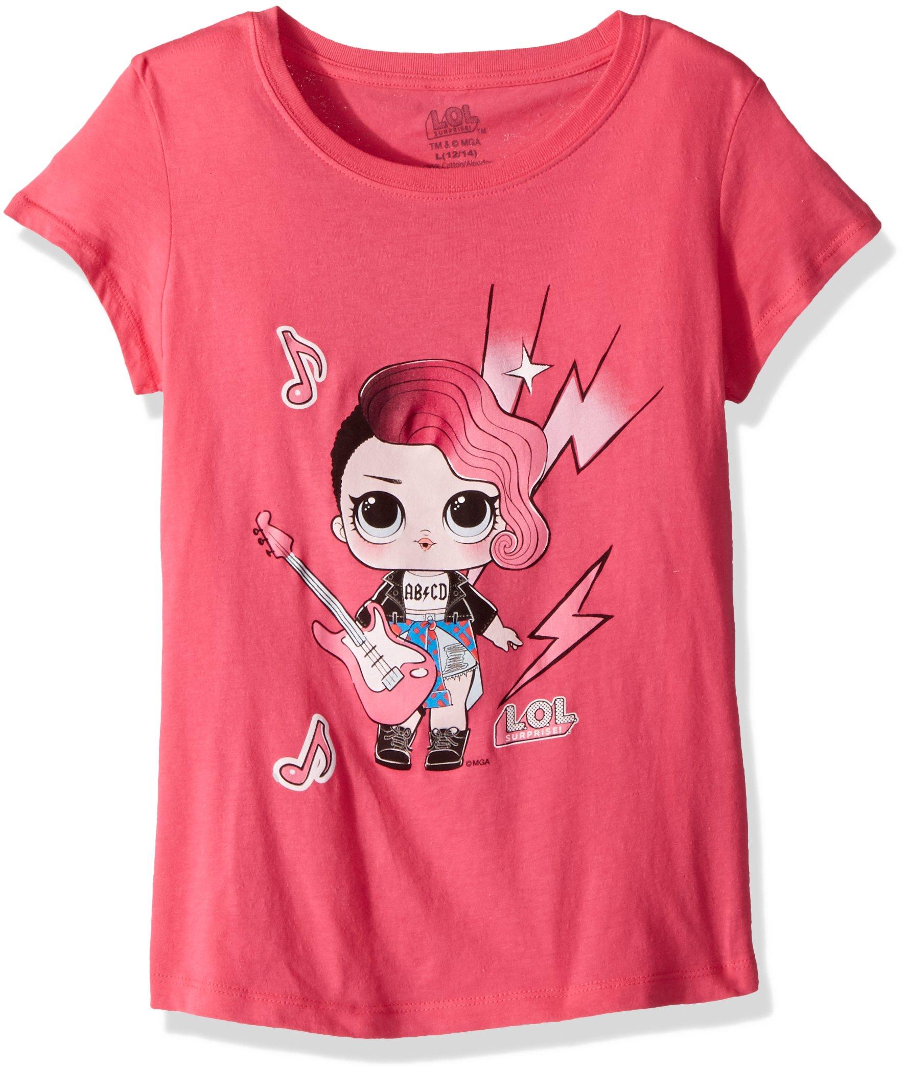 L.O.L. Surprise! Little Girls' Glee Club Rocker Short Sleeve T-Shirt, Hot Pink, M-5/6