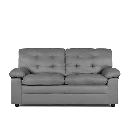 Delicieux Living Room Soft Microfiber Relaxing Grey Sofa With Comfortable High  Density Foam Cushioning Padded Arms Sturdy