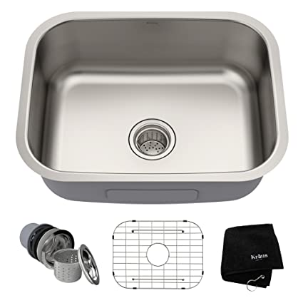 Kraus KBU12 23 inch Undermount Single Bowl 16 gauge Stainless Steel Kitchen  Sink