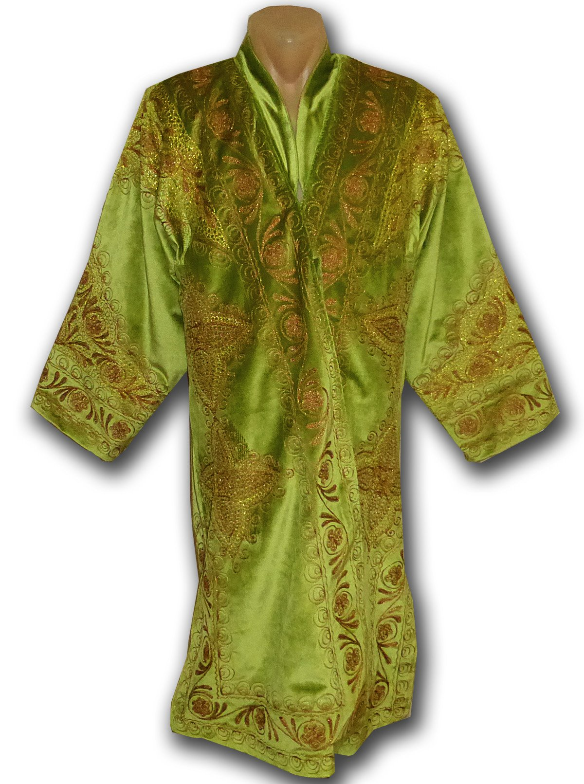 STUNNING-UZBEK-COPPER-SILK-EMBROIDERED-ROBE-CHAPAN-FROM-BUKHARA-M239