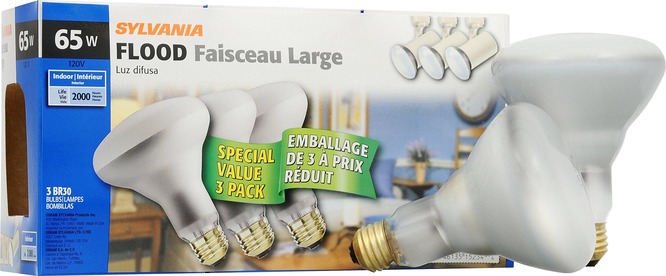 Sylvania 65 Watt BR30 Incandescent Reflector Floodlight Bulb, 2850K Soft White, E26 Medium Base, 12 Pack