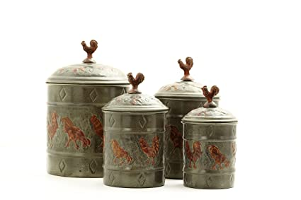 Amazon Com Rooster Canister Set W Fresh Seal Covers 4 Piece Wine