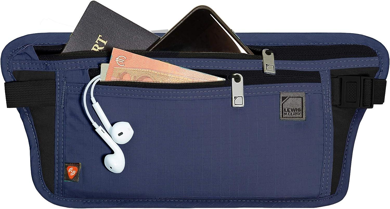Lewis N. Clark RFID Blocking Money Belt Travel Pouch + Credit Card, ID, Passport Holder for Women & Men, Navy, One Size