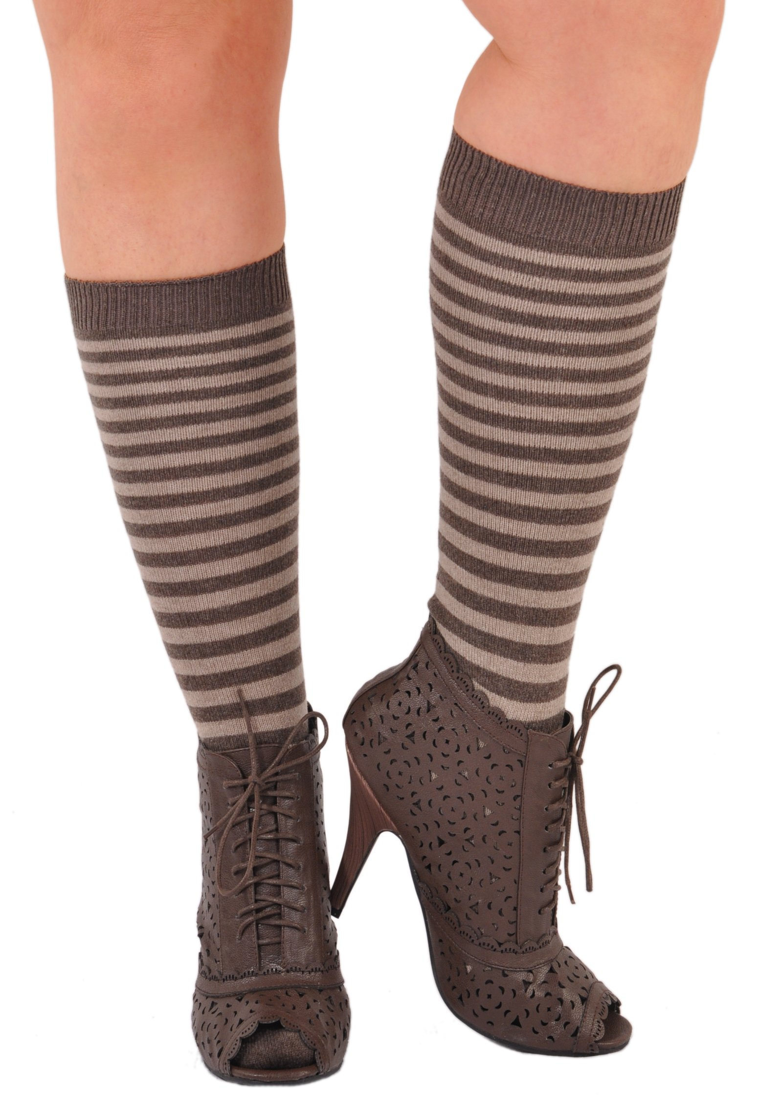 Joelle Kelly Design Pure Cashmere Sizzlin' Hot Stripes Knee-High Socks Natural M/L