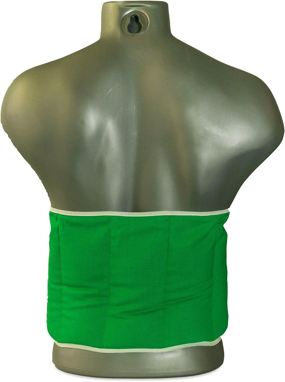Coussin-ceinture aux p/épins de raisins /à sept compartiments avec fermeture /à bande auto-agrippante Coussin thermique aux graines XXL Vert clair longueur environ 135cm Ceinture-bouillotte