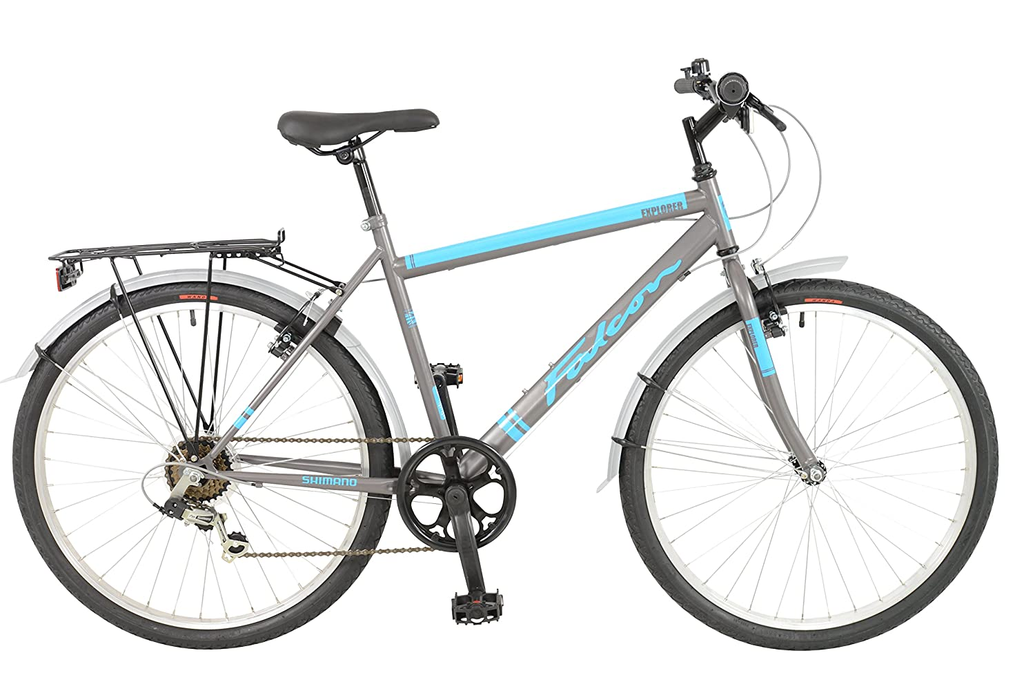 FalconExplorer Unisex Mountain Bike Black/Blue, 19 inch steel frame, 6 speed strong and lightweight alloy wheel rims front and rear v-brakes 19 inch steel frame