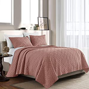 SHALALA NEW YORK Cotton Voile Quilt Set with 2 Quilted Shams - Ultra Soft Garment Washed Coverlet - Solid Geometric Stitched Bedspread - Breathable Comfortable (New Orange Blush, King)