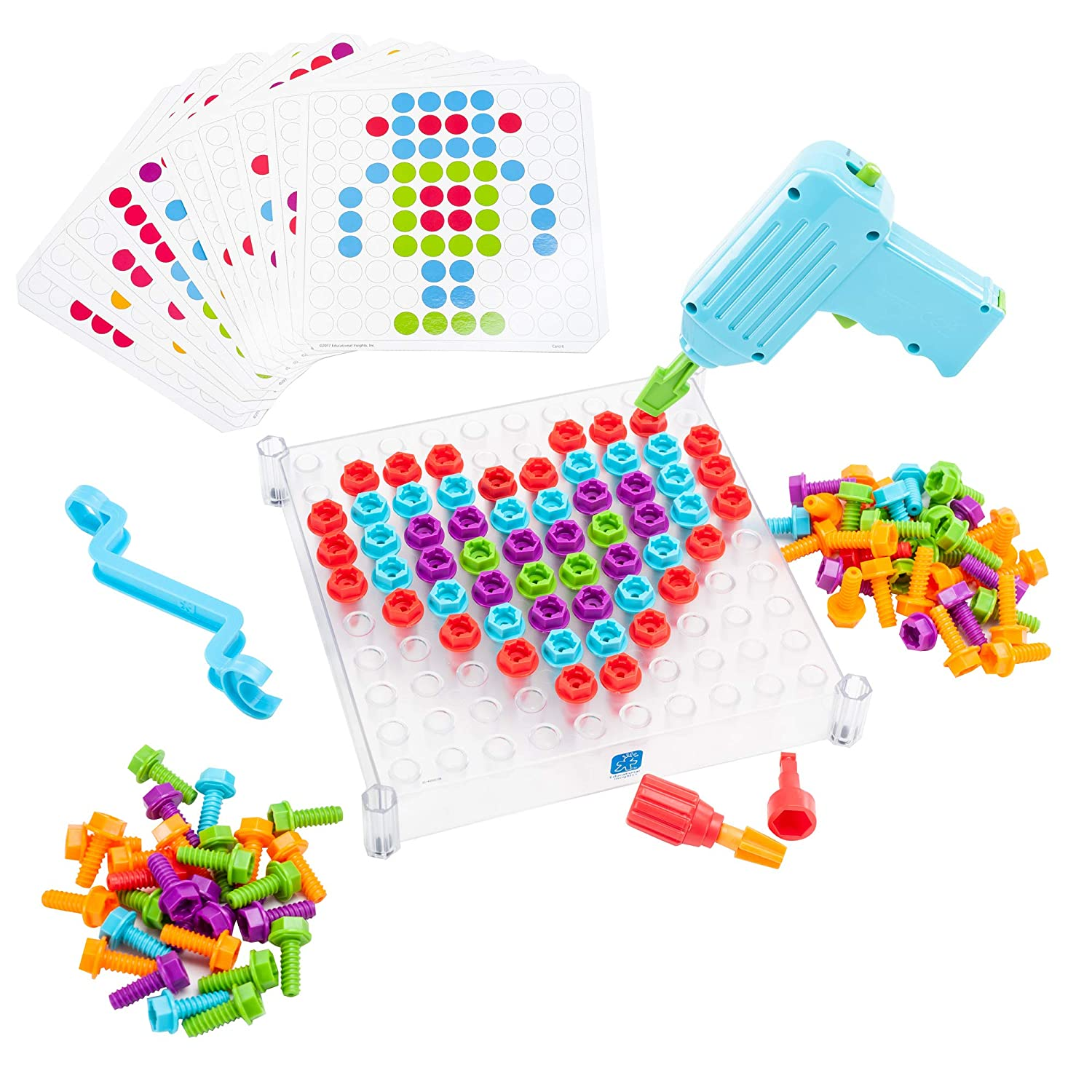 Educational Insights Design & Drill Activity Center - Perfect STEM Toy for Age 3-6 with Kid Friendly Working Drill EI-4112