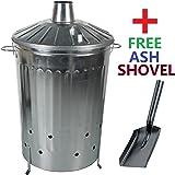 CrazyGadget 125 Litre 125L Extra Large Galvanised Metal Incinerator Fire Burning Bin with Special Locking Lid + Free Ash Shovel