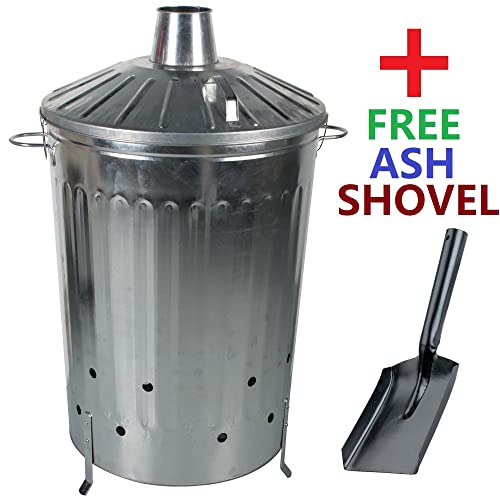 CrazyGadget 125 Litre 125L Extra Large Galvanised Metal Incinerator Fire Burning Bin with Special Locking Lid + Free Ash Shovel