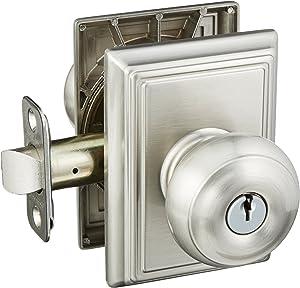 Schlage Lock Company F51AGEO619ADD Satin Nickel Georgian Keyed Entry F51A Panic Proof Door Knob with Addison Rosette