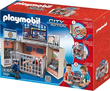 Playmobil 5421 Polizeistation Aufklapp Spiel Box Amazon De