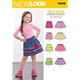 New Look 6409 Size A Child's Pull-On Skirts Sewing Pattern, Multi-Colour
