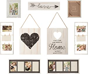 Gallery Perfect Rustic Collage Gallery Wall Kit Picture Frame Set, Multi Size - 4