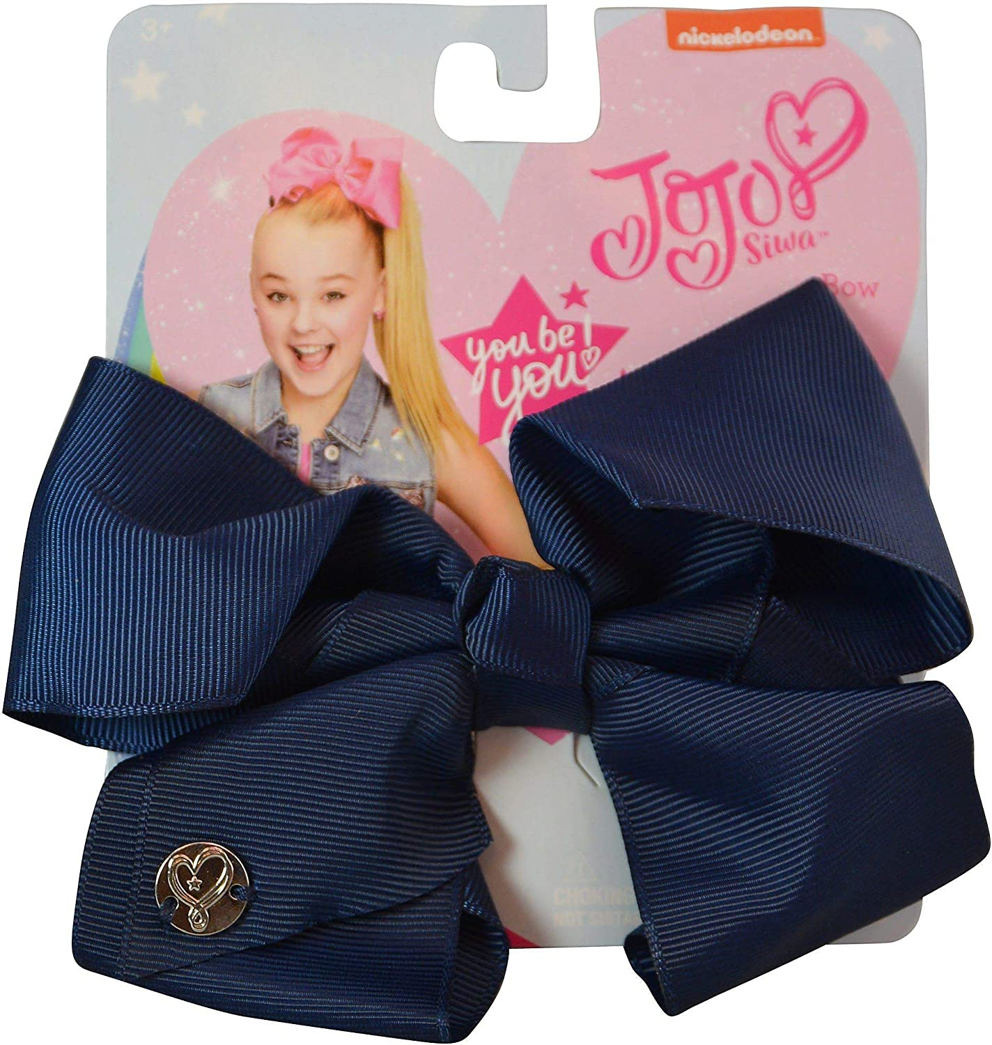 hair bows ribbon girl school accessories clip navy blue light blue medium