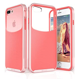 Vena VN1795 iPhone 8 Plus Case, iPhone 7 Plus Case, [Harmony] Wave Texture [Hybrid Clear Back Panel] Slim Fit Cover, Rose Gold/Coral Pink