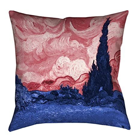 ArtVerse Vincent Van Gogh 18 x 18 Faux Suede Double Sided Print with Concealed Zipper /& Insert Red Wheatfield with Cypresses Pillow