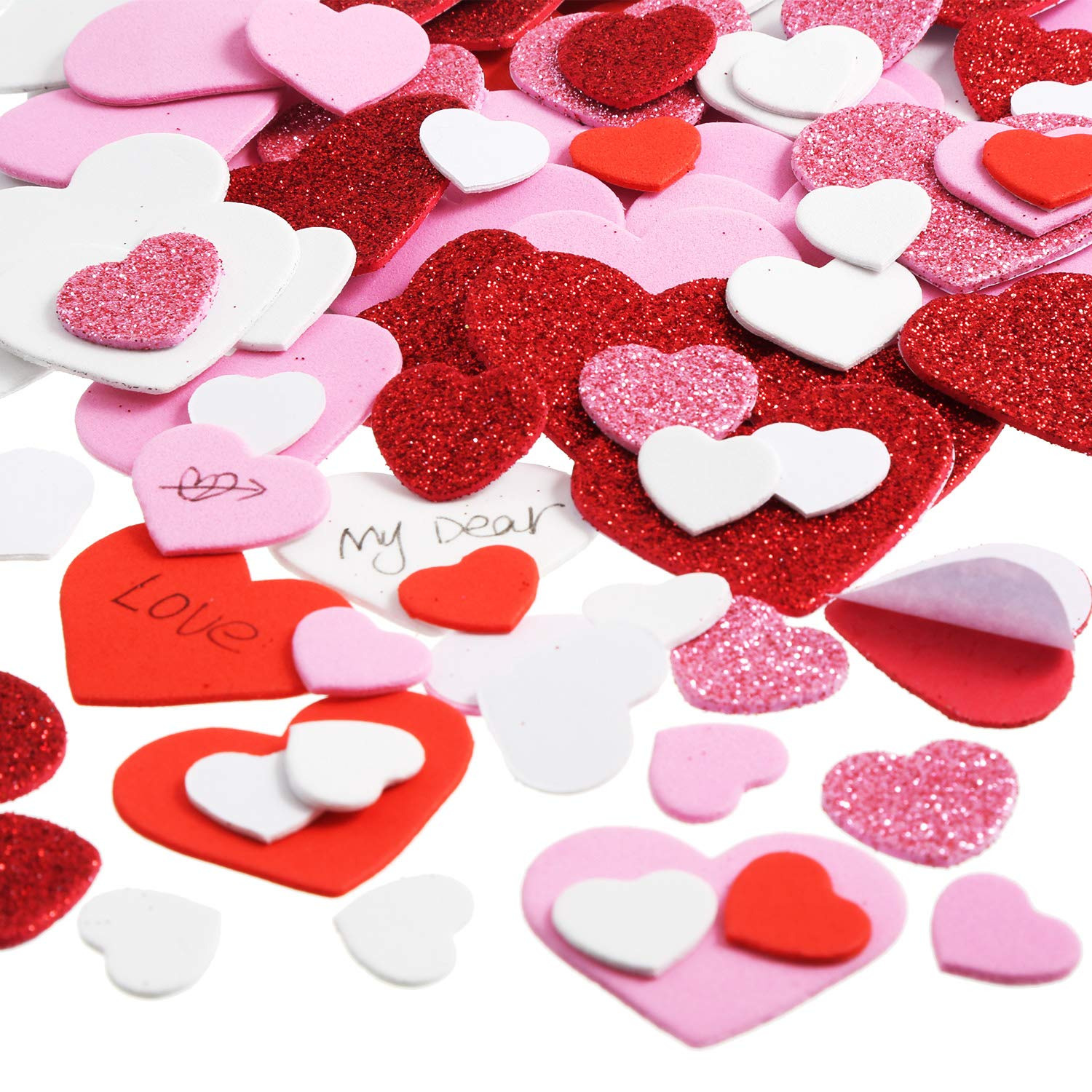 Zhehao 520 Pieces Assorted Heart Shape Stickers Foam Glitter Decals Self Adhesive Valentine Stickers for Valentine's Day Wedding Crafts, 3 Colors in Various Sizes