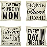 4 Packs Hippih Throw Pillow Cases - Cotton Linen Sofa & Bed Home Decor Design 18 X 18 Inch Cushion Covers