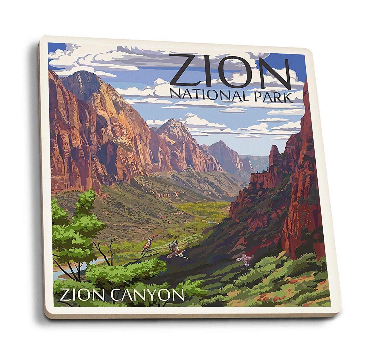 ザイオン国立公園 – ザイオンCanyon View 4 Coaster Set LANT-43118-CT B0192R8KAS 4 Coaster Set