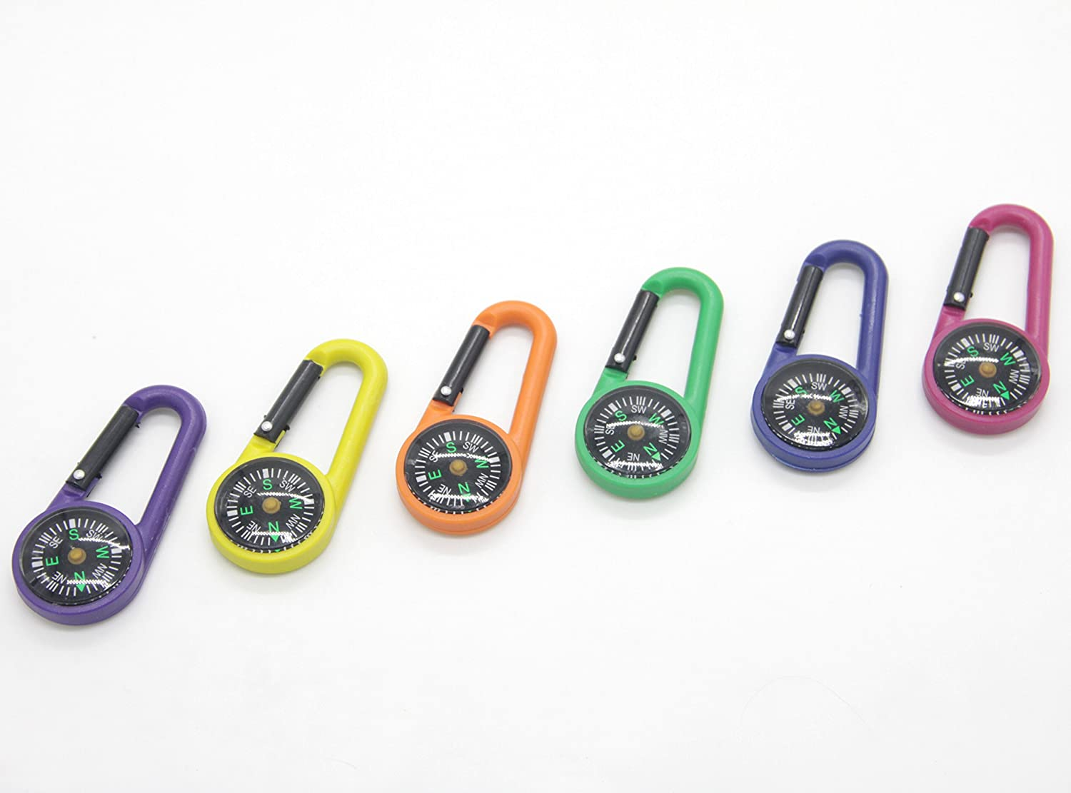 Snowmanna-1 Pack Assorted Colors Portable Mini Compass Carabiner Quick Release Buckle Keychain Outdoor Travelling Guiding Accessory