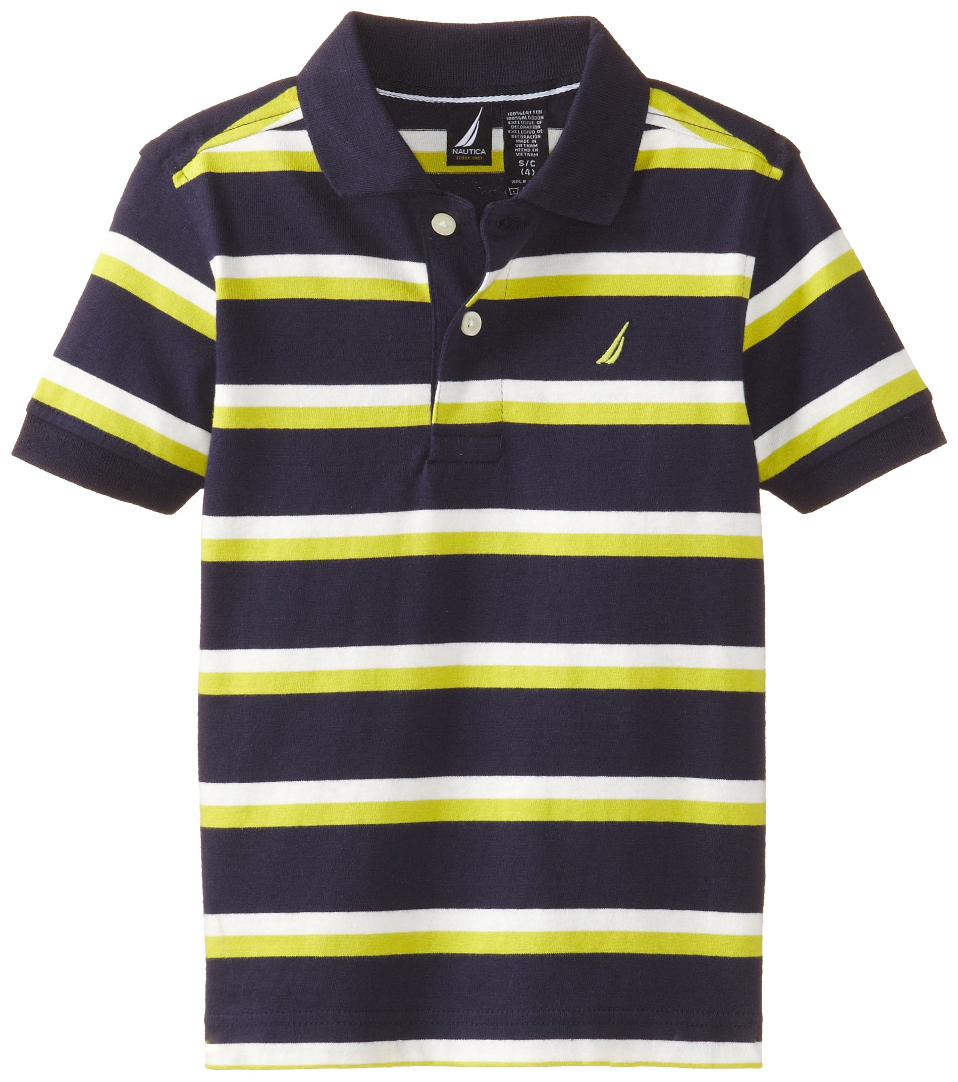 Nautica Little Boys' Contrast Stripe Polo, Peacoat,M(5/6)