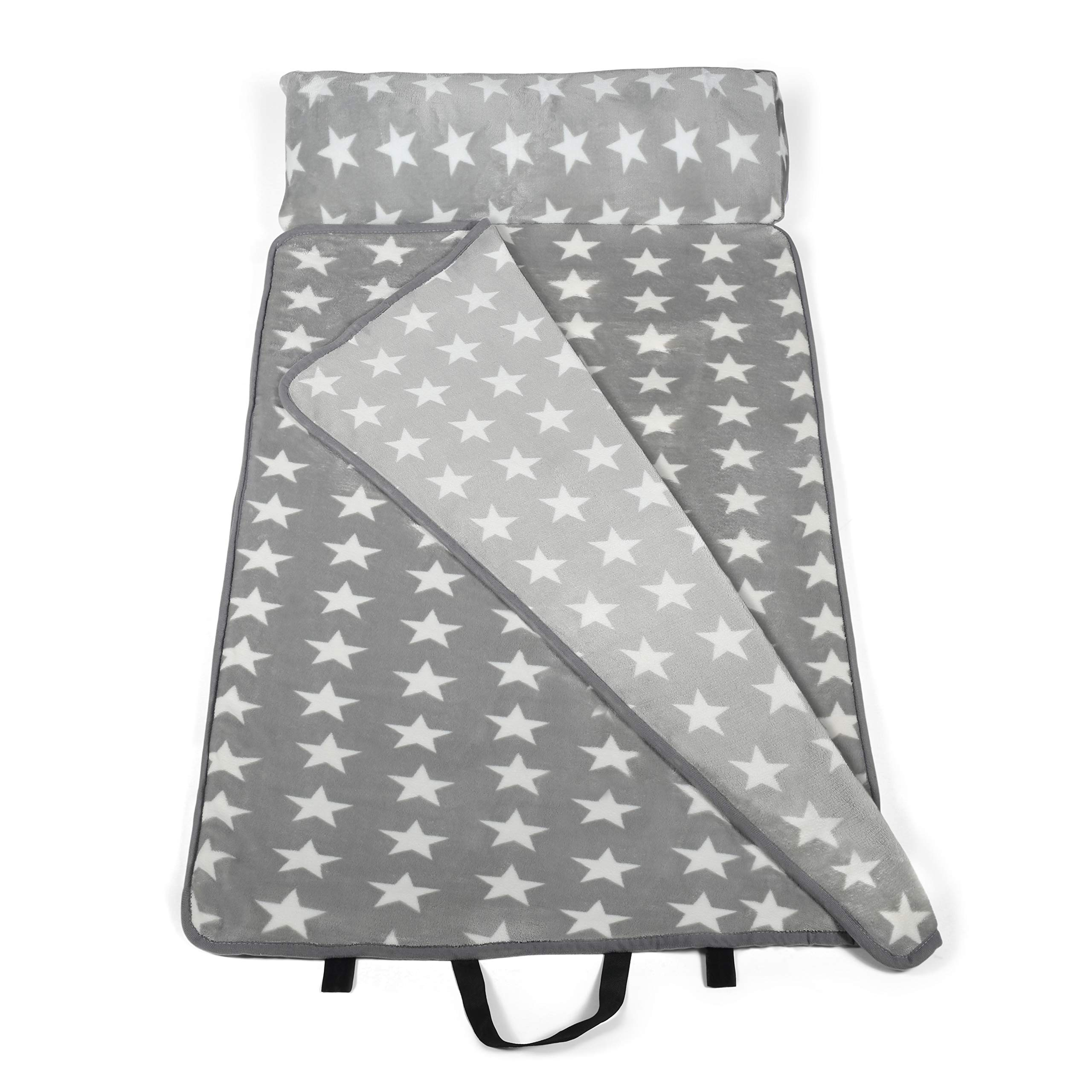 Milliard -Memory Foam- Nap Mat Roll Stars with Fuzzy Blanket and Removable Pillow, Machine Washing for Toddler Daycare Preschool Kindergarten and Sleepovers by Milliard (Image #1)