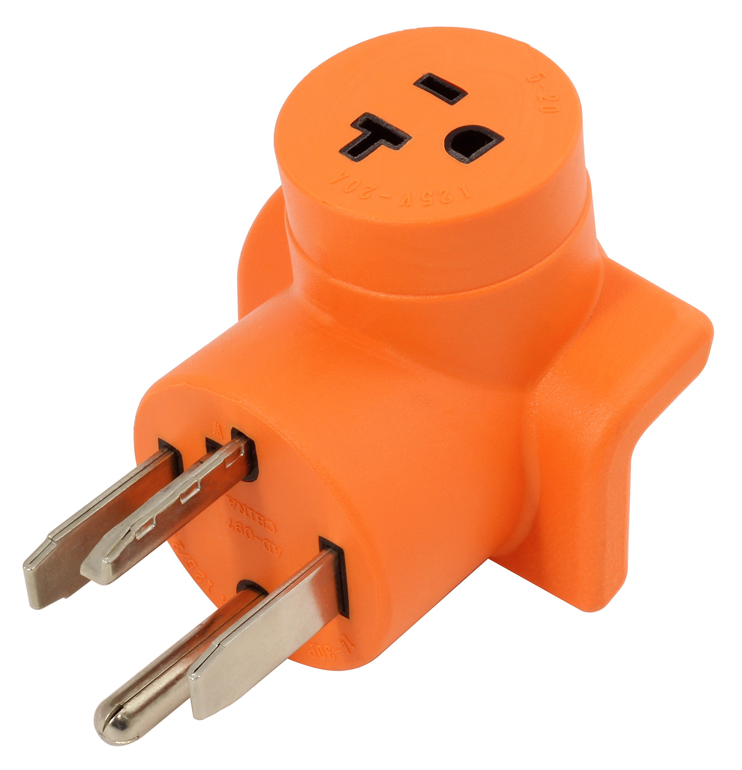 AC WORKS [AD1430520] Dryer Outlet Adapter NEMA 14-30P 30Amp Dryer Outlet to Household 15/20Amp 125Volt T Blade Female Connector by AC WORKS (Image #1)