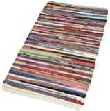 EHC 70 x 140 cm 100-Percent Recycled Handmade Multicoloured Cotton Chindi Floor Rug, Multi-Colour