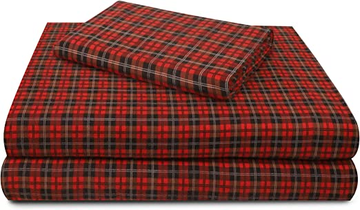 MAINSTAYS RED PLAID STANDARD PILLOWCASES 2 PC COTTON RICH EXTRA SOFTNESS NEW