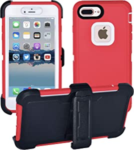 AlphaCell Cover Compatible with iPhone 8 Plus / 7 Plus / 6 Plus / 6s Plus   2-in-1 Screen Protector Holster Case   Full Body Military Grade Protection with Carrying Belt Clip   Shock-Proof Protective