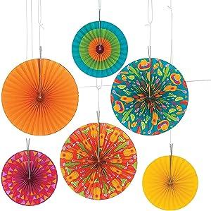 Fun Express - Lets Fiesta! Paper Hanging Fans for Cinco de Mayo - Party Decor - Hanging Decor - Lanterns - Cinco de Mayo - 6 Pieces