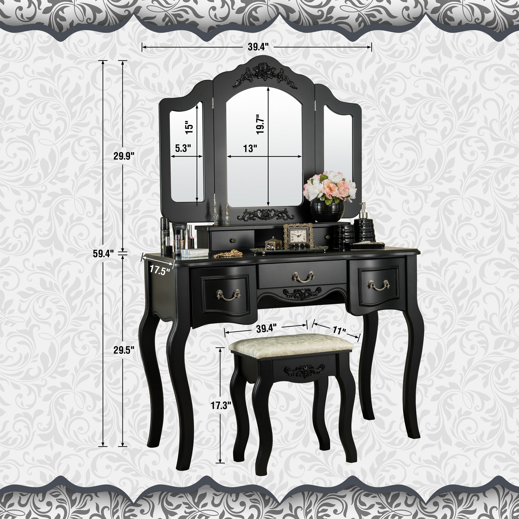 Fineboard CFB-VT04-BK Vanity Beauty Station Makeup Table and Wooden Stool 3 Mirrors and 5 Organization DrawersSet, Black by Fineboard (Image #4)