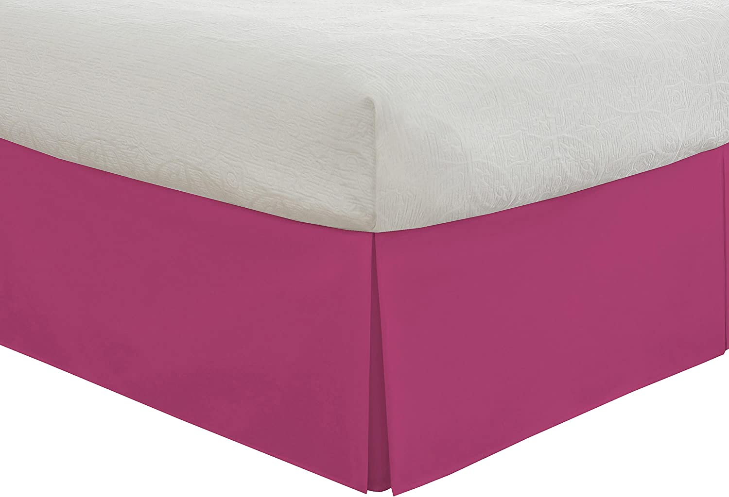 Pink Lux Hotel Tailored Bed Skirt Classic 14 Drop Length Pleated Styling Twin XL