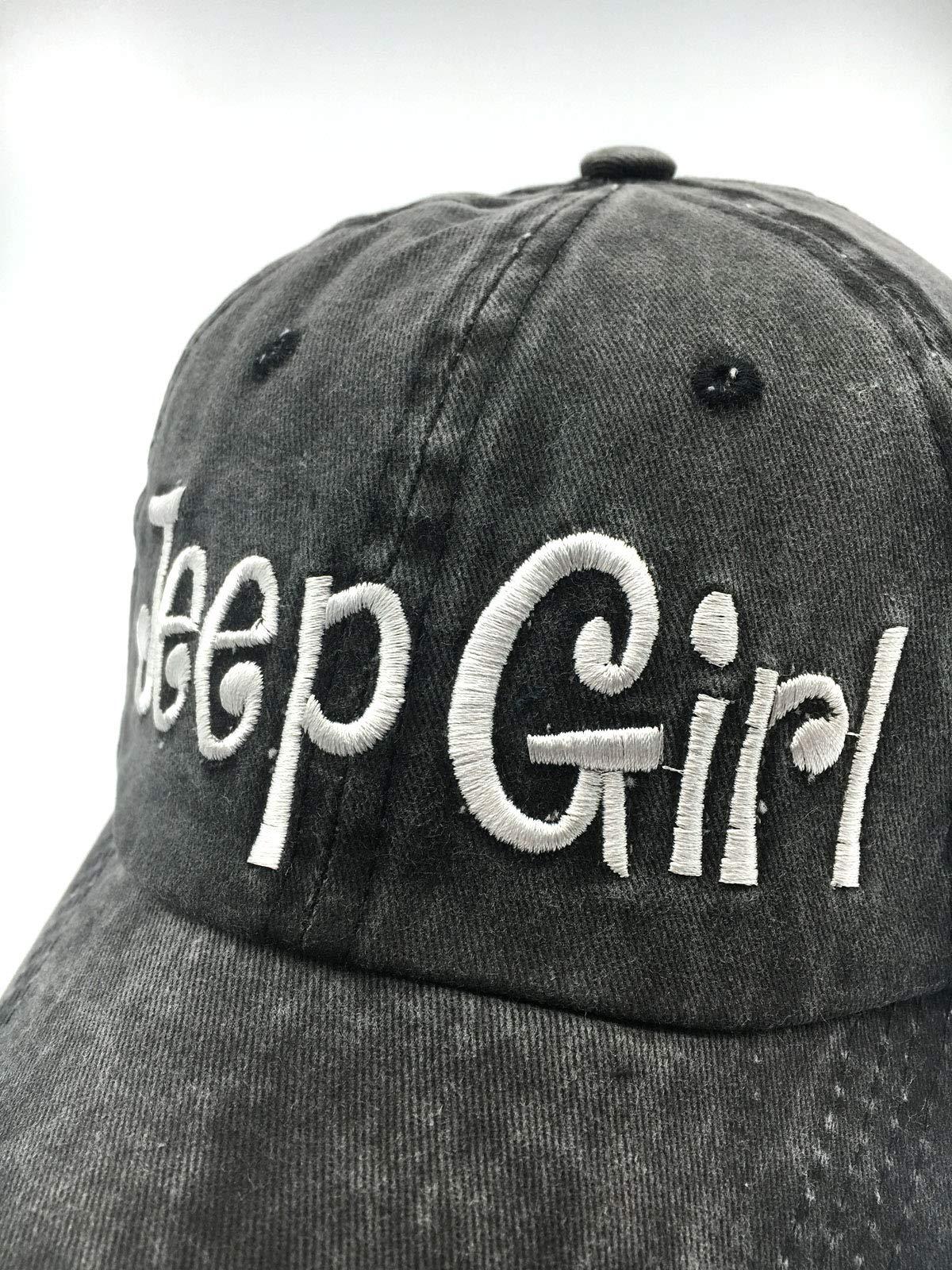 Waldeal Embroidered Jp Girl Vintage Distressed Adjustable Baseball Caps Washed Denim Dad Hat Mom Gift Black by Waldeal (Image #2)