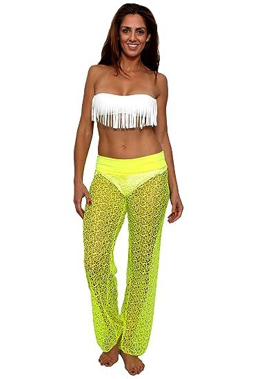 Womens Crochet Pants Wwaist Band Swimwear Beach Cover Up Made In