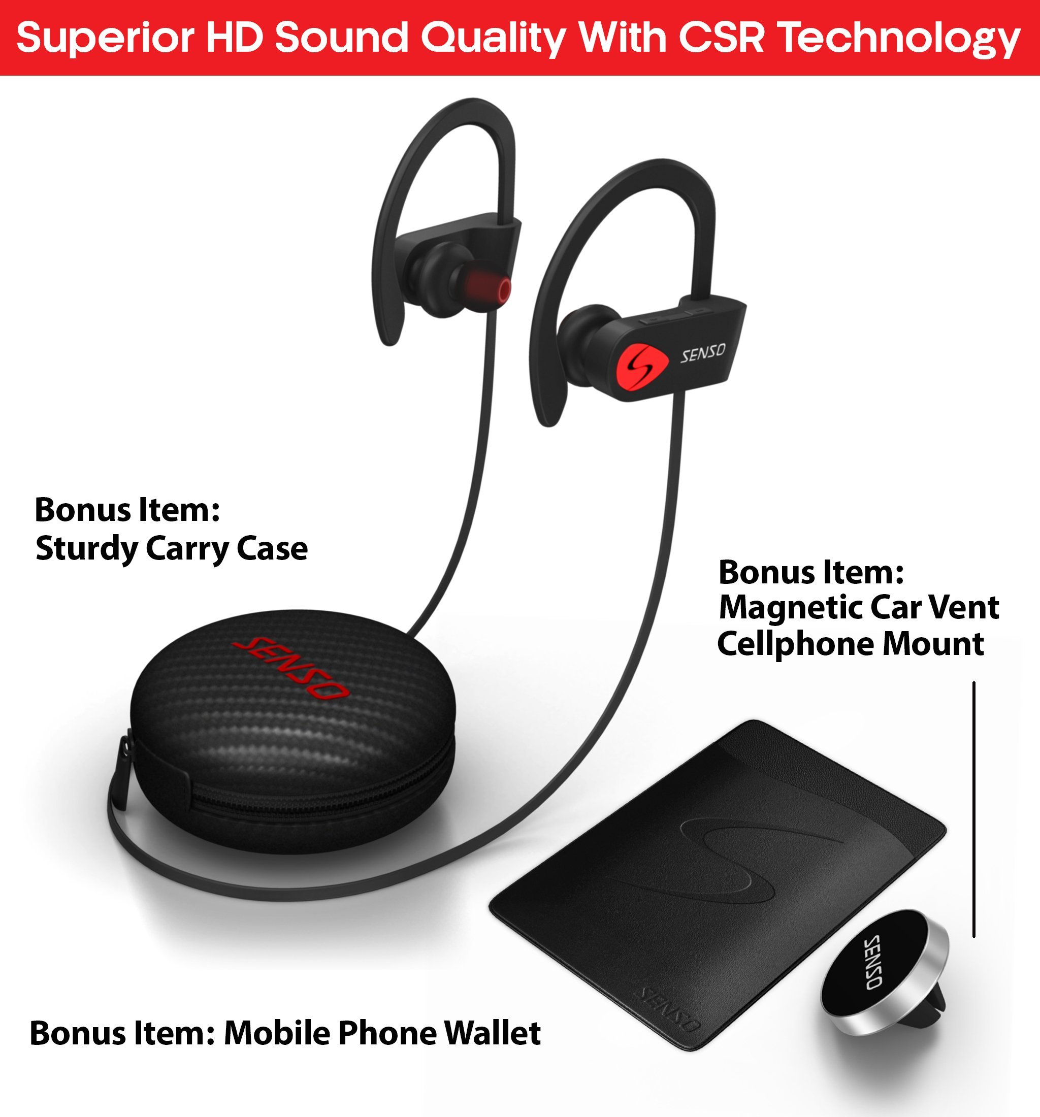 SENSO Bluetooth Headphones, Best Wireless Sports Earphones w/Mic IPX7 Waterproof HD Stereo Sweatproof Earbuds for Gym Running Workout 8 Hour Battery Noise Cancelling Headsets by Senso (Image #2)