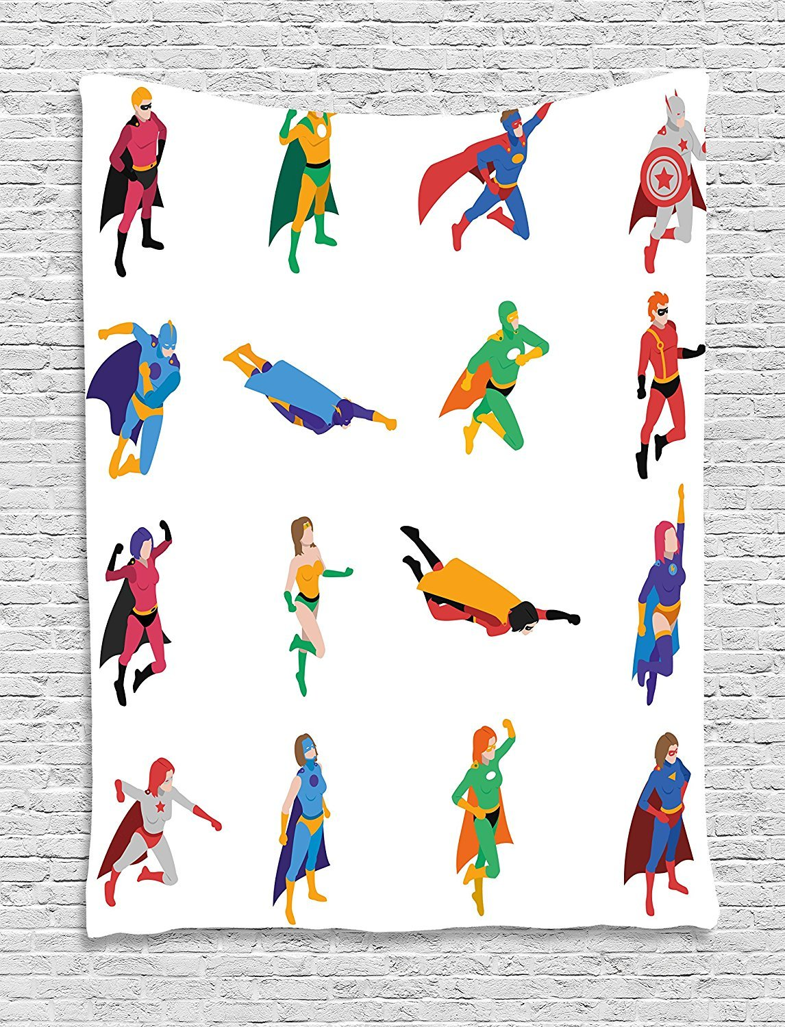 asddcdfdd Superhero Tapestry, Heroic Characters with Supernatural Powers Popular Strip Protector Icons Image, Wall Hanging for Bedroom Living Room Dorm, 60 W X 80 L Inches, Multicolor