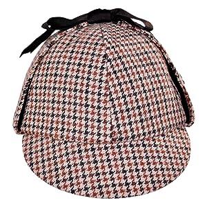 Sherlock Holmes Houndstooth Detective Costume Hat Red & Black