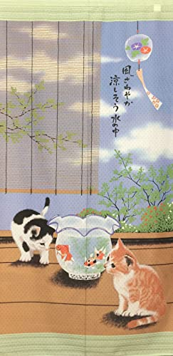 Cosmo Noren Japanese Curtain Cat in Summer from Japan 10232