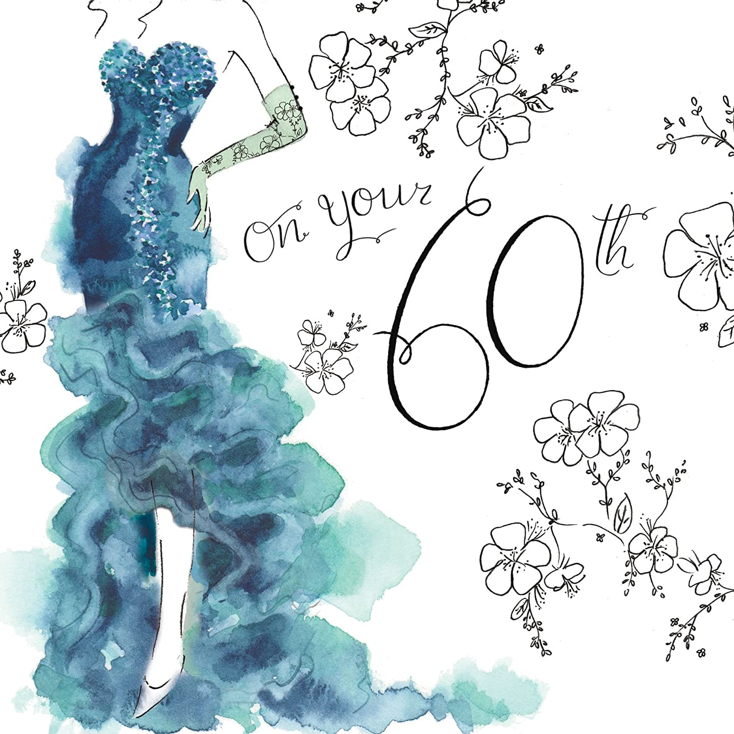 Twizler 60th Birthday Card For Her With Swarovski Crystal Finish Silver Foiling Unique Watercolour Effect And Cocktail Dress
