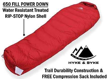 Hyke & Byke Snowmass Saco de Dormir Momia -15 Grados C Ultraligero - Saco de Dormir con Plumón y Bolsa de Compresión Liviana para IR de Excursión y ...