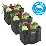 HousWork Reusable-Waterproof-Washable-Grocery-Shopping-Bags 3 Pack Made Foldable | Large, Durable Convenient Tote with Reinforced Bottoms(Black)