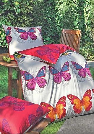 Biberna Mako Satin Bettwäsche Schmetterling Rubin 155x220 Amazonde