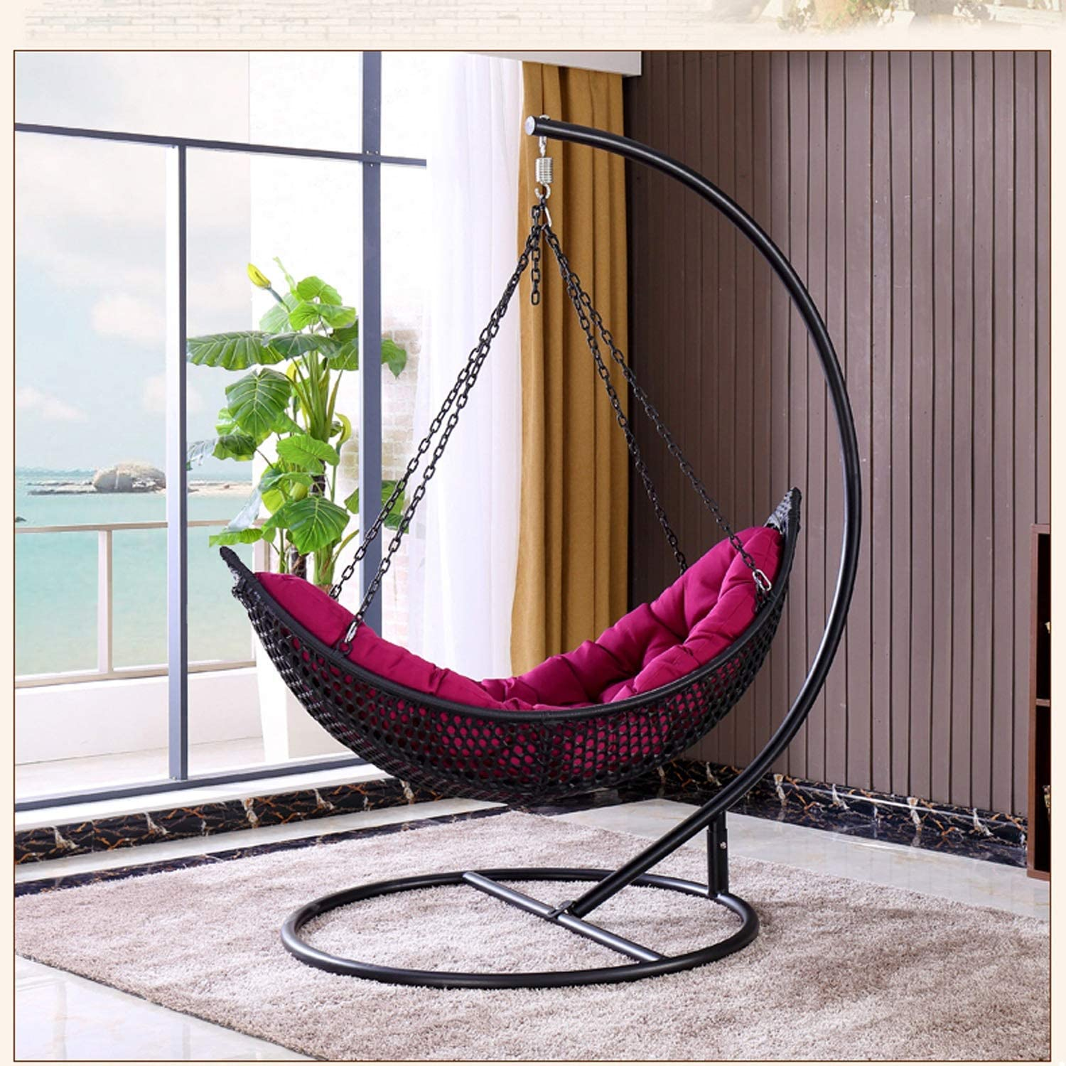 Amazon Com Hoiho Outdoor Flying Hanging Basket Chair Single Black Pe Rattan Hanging Chair To Send Cushions Home Indoor Balcony Swing Seat Chair Load 130kg Garden Outdoor