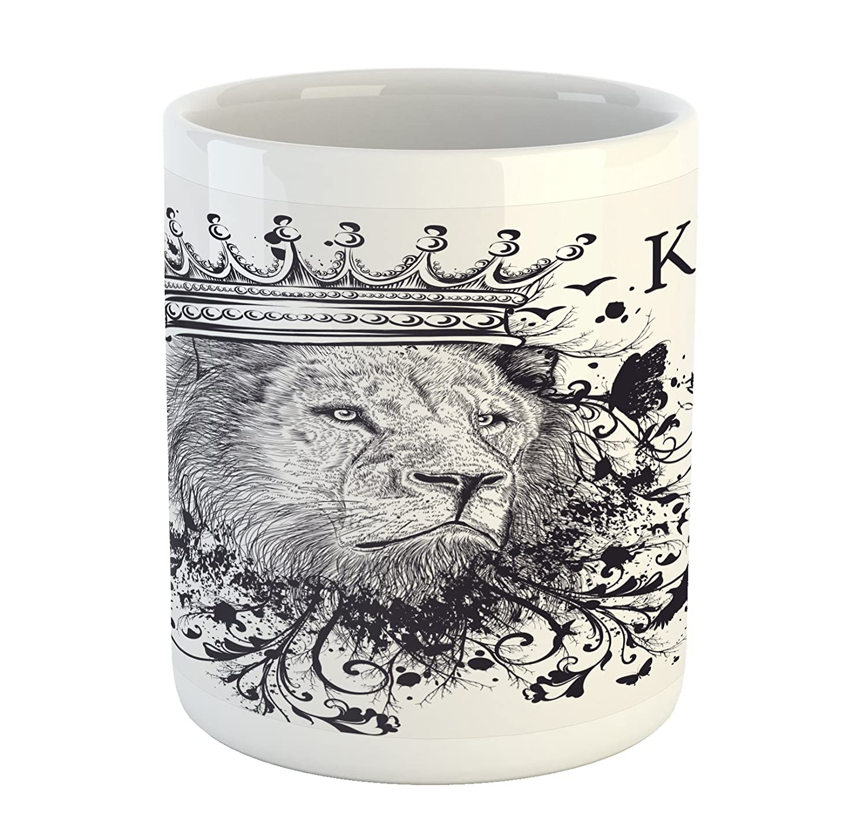 Ambesonne Feminine Mug Printed Ceramic Coffee Mug Water Tea Drinks Cup Pattern with Red Lipstick Kiss Marks Woman Valentines Wedding Theme Illustration White Red