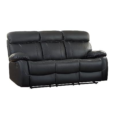Exceptionnel Homelegance Pendu Reclining Sofa Top Grain Leather Match, Black