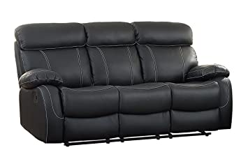 Homelegance 8326BLK-3 Pendu Reclining Sofa Top Grain Leather Match, Black