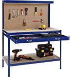 VonHaus Steel Boltless Workbench Worktable Workshop Station with Drawer and Pegboard + FREE 12 Pegs Massive Capacity 230 kg (120L x 60W x 155H cm): Free 2 Year Warranty